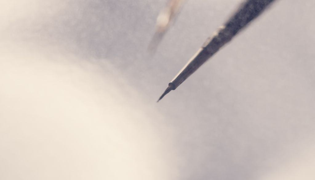A thin paintbrush is best for writing your signature.