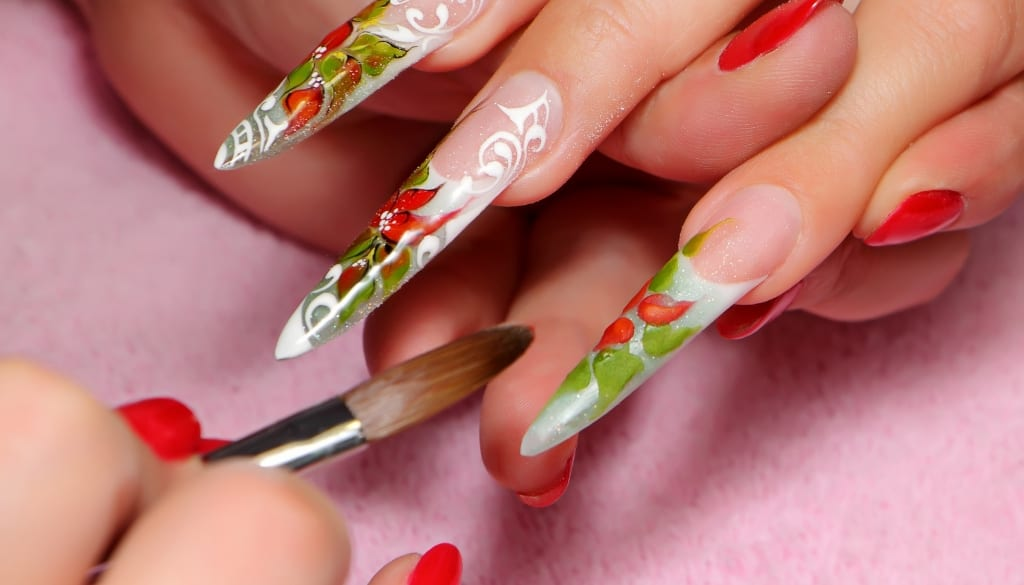 nail art with acrylic paint